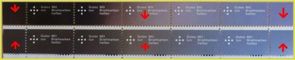 Übergang der Farben beim Bogenrand – oben ist das Original, unten die Fälschung