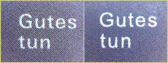 Der selbe Teilausschnitt der Schrift aus dem mittleren Bogenbereich, - hier sieht man links bei der echten Marke eine beginnende Rosettenbildung, die bei der Fälschung rechts nicht vorhanden ist