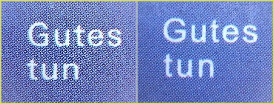 Die entsprechenden Teilausschnitte vom rechten Bogenrand – links das Original, rechts die Fälschung bezüglich des Übergangs der Farbe nach Blau